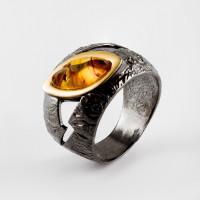 Серебряное кольцо с янтарем ЯН71161065