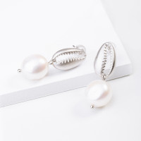 Серебряные серьги гвоздики с жемчугом ФССАМ173ЕРД