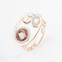 Золотое кольцо с родолитами и фианитами ЛБ1003224
