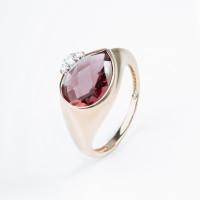 Золотое кольцо с фианитами и родолитами