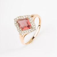 Золотое кольцо с родолитами и фианитами ЛБ1003624