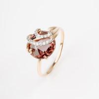 Золотое кольцо с кварцем и фианитами НЮ102020191403кврл