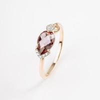 Золотое кольцо с кварцем и фианитами НЮ102020191505кврл