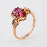 Золотое кольцо с кварцем и фианитами НЮ10202013047кврл