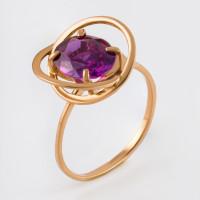 Золотое кольцо с ситаллами александритами 2БКЗ5К-15.03-0502