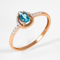 Золотое кольцо с топазом и фианитами ЮПК13412567тл