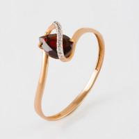Золотое кольцо с гранатом и фианитами ЮПК13410598гр