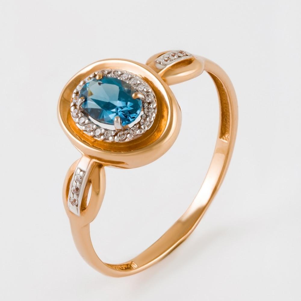 Золотое кольцо с топазом и фианитами ЮПК13412564тл