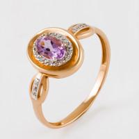 Золотое кольцо с аметистом и фианитами ЮПК13412564ам