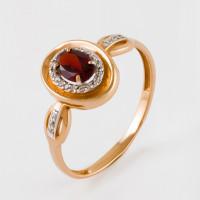 Золотое кольцо с гранатом и фианитами ЮПК13412564гр