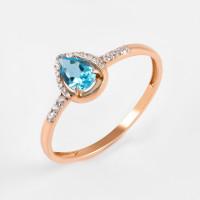 Золотое кольцо с топазом и фианитами ЮПК13412567тс