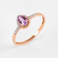 Золотое кольцо с аметистом и фианитами ЮПК13412567ам