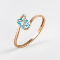 Золотое кольцо с топазом и фианитами ЮПК13410598тс