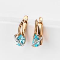 Золотые серьги с топазами и фианитами ЮПС13410598тс