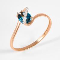 Золотое кольцо с топазом и фианитами ЮПК13410598тл