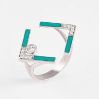 Серебряное кольцо с фианитами ДИ94013140