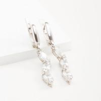 Серебряные серьги подвесные с фианитами 4МС113