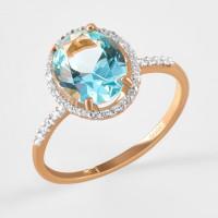 Золотое кольцо с ситаллом и фианитами ДИ716154