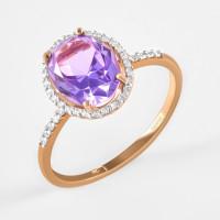 Золотое кольцо с ситаллом и фианитами ДИ716155