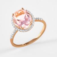 Золотое кольцо с ситаллом и фианитами ДИ716156