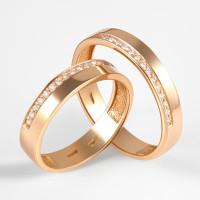 Золотое кольцо обручальное с бриллиантами 2БК35К-02-1286