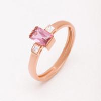 Золотое кольцо с ситаллом марсалой и фианитами НЮ09536601010002458