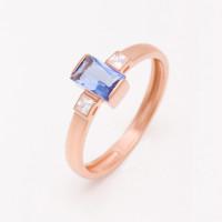 Золотое кольцо с ситаллом сапфиром и фианитами НЮ09536601010002459