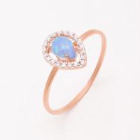Золотое кольцо с опалом синтом и фианитами НЮ09559301010052461