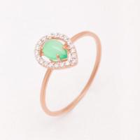 Золотое кольцо с хризопразом и фианитами НЮ09559301010052462