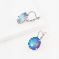 Серебряные серьги с кристаллами сваровски Ф1С002пЛ130Д
