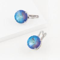 Серебряные серьги с кристаллами сваровски Ф1С0042Л130Дп