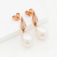 Золотые серьги гвоздики с жемчугом и фианитами ДП050274