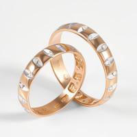 Золотое кольцо обручальное с фианитами 2БКЗ5К.1-01-0560