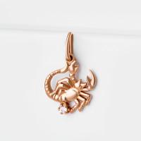 Золотой знак зодиака «скорпион» с фианитами 7А30162