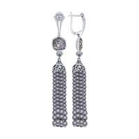 Серебряные серьги подвесные с жемчугом, Swarovski и фианитами ДИ94022150