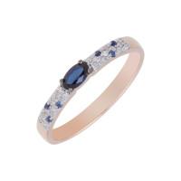 Золотое кольцо с бриллиантами и сапфирами ЛХ1-1100к