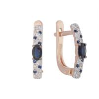 Золотые серьги с бриллиантами и сапфирами ЛХ2-1100к