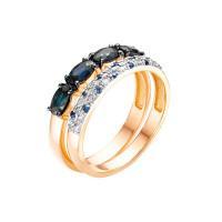 Золотое кольцо с бриллиантами, сапфирами и сапфирами гт ЛХ1-1099к