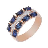 Золотое кольцо с бриллиантами и сапфирами ЛХ1-1102к