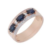 Золотое кольцо с бриллиантами и сапфирами ЛХ1-1104к