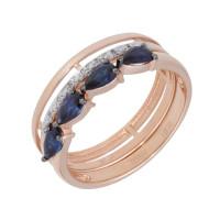 Золотое кольцо с сапфирами гт и бриллиантами ЛХ1-1108к