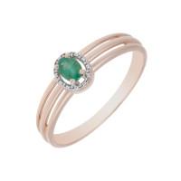 Золотое кольцо с изумрудом и бриллиантами ЛХ1-1140изк
