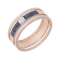 Золотое кольцо с бриллиантом и сапфирами ЛХ1-1113к