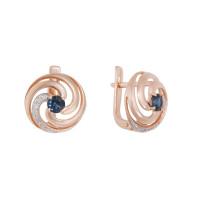 Золотые серьги с бриллиантами и сапфирами ЛХ2-681к