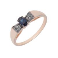 Золотое кольцо с бриллиантами и сапфиром ЛХ1-1125сп