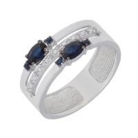 Золотое кольцо с сапфирами и бриллиантами ЛХ1-1098б