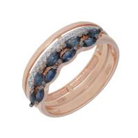 Золотое кольцо с сапфирами и бриллиантами ЛХ1-1105к