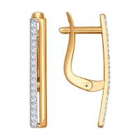 Золотые серьги с фианитами ДИ027168