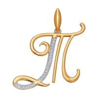 Золотая подвеска Буква Т с фианитами ДИ034713