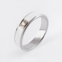 Золотое кольцо обручальное с бриллиантом и эмалью